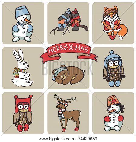 Christmas funny animals icons