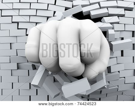 3D Fist Burst Through Brick Wall