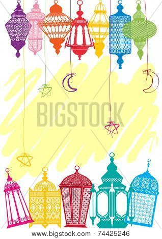 Vibrant colored Lantern greeting cards background