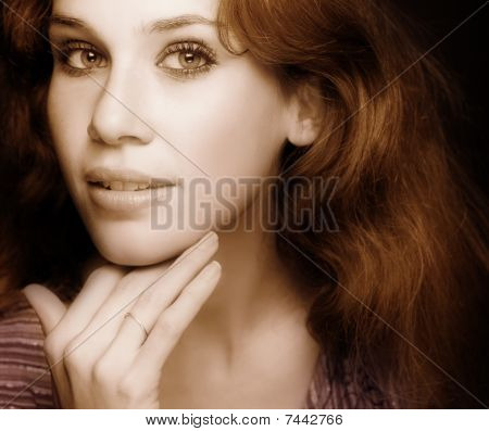 Glamour Classic Portrait Of Sensual Sexy Woman