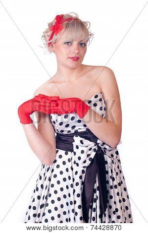 Lovely Girl In Retro Style
