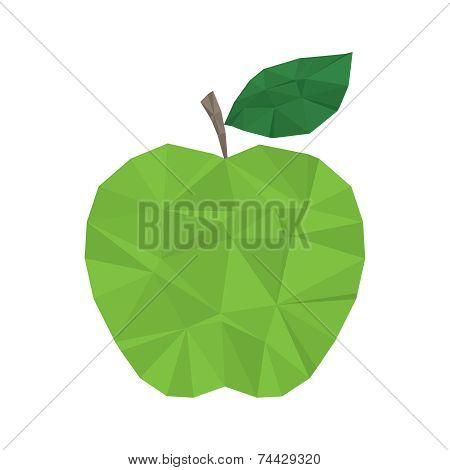 Green apple polygonal modern element