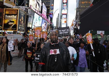Leading the march into Times Square