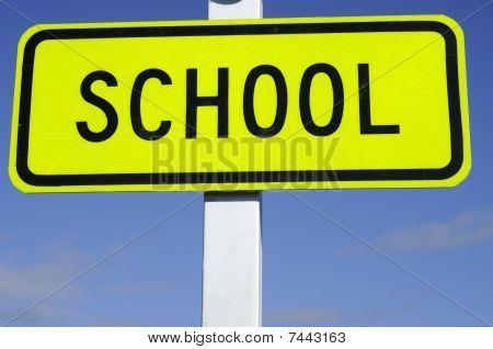 Zebra Crossing Road Sign With School