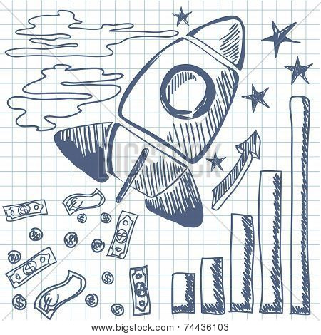 Rocket flies up the graph