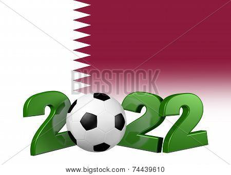 Football 2022 Design With Qatar Flag