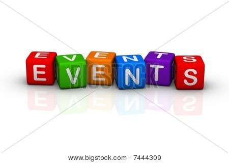events (buzzword colorful cubes 3D hires series) poster