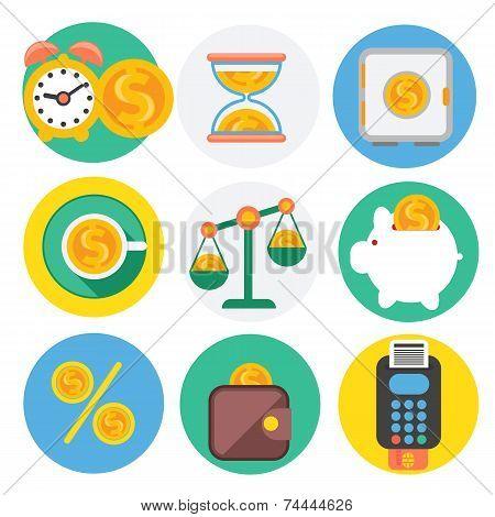 Set of money, finance, banking icons