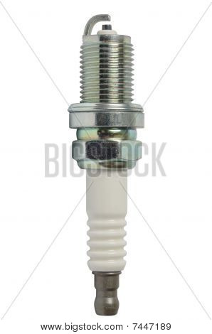 Macro of spark plug isolated on white background poster