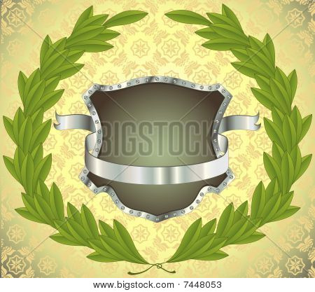 Shield With Banner And Wreath