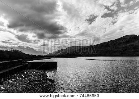 Monochrome Kylemore Lough In Connemara