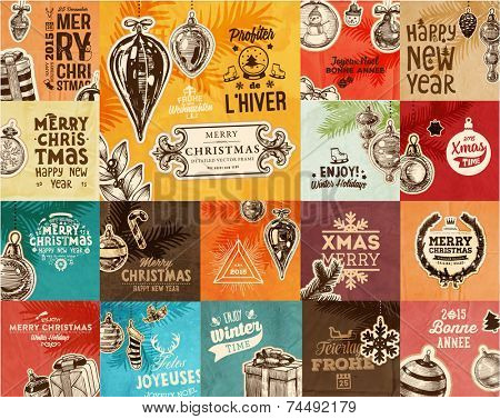 Christmas Vector Vintage Cards Set. Xmas Holiday Design, Engraving Graphic Elements. Typographic Labels for Greeting Cards, Banners and Posters Design. Old Paper Background Texture.