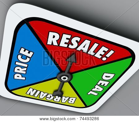 Resale word on a board game spinner to reach a deal, buy, sell or bargain on old or preowned goods or merchandise
