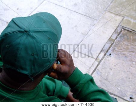 Worker on phone