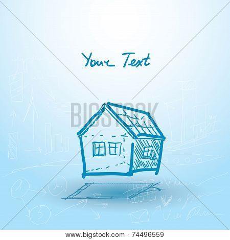 House, House Plan On A Blue Background. Building. Sketch. Vector