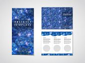 blue mosaic background design for tri-fold brochure template poster