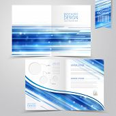 abstract technology background design for half-fold brochure template poster