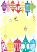 Vibrant colored Lantern greeting cards background poster