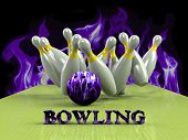 Bowling Game Strike rot 3d abstract image poster