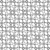 Black and white geometric seamless pattern with line and round corner rectangle eps10 vector. poster