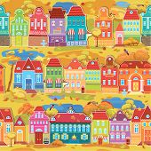 Seamless pattern with decorative colorful houses fall or autumn season. City endless background. Ready to use as swatch. poster