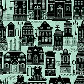 Seamless pattern with fairy tale houses lanterns trees. City endless background. Ready to use as swatch. Black silhouettes on blue background. poster