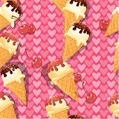 Seamless pattern with Vanilla Ice cream cones with Chocolate and strawberry glaze and cherry berries on pink background with hearts. poster