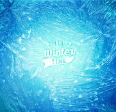 Vector Patterns Made by the Frost. Blue Winter Background for Christmas Designs. Typographic Label for Xmas Holiday Greeting Cards, Party Banners and Posters. Icy Abstract Background. poster