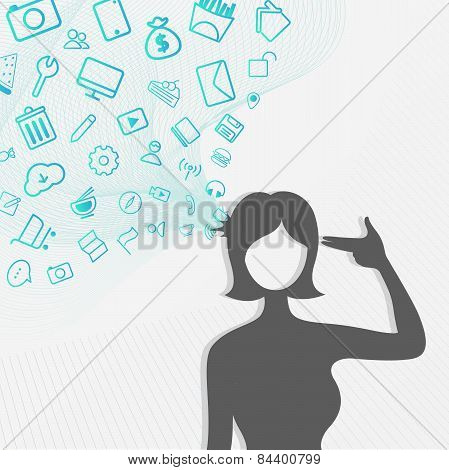 A Silhouette Woman's Head Explodes With Lots Of Internet Icon Flowing While She Shot Herself, Create
