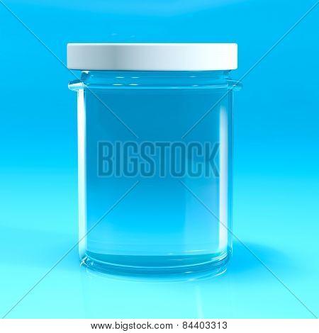 Empty Jar Glass Isolated On Blu Background