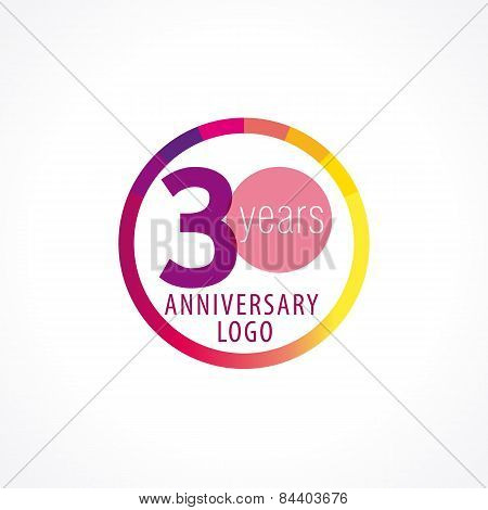 30 years old round logo. Anniversary year of 30 th vector chart template medal. Birthday greetings circle celebrates. Celebrating numbers. Colorful stamp with diagram. Figures of ages. Letter O.