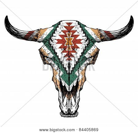 Bull / auroch skull with horns on white background. with traditional ornament on head