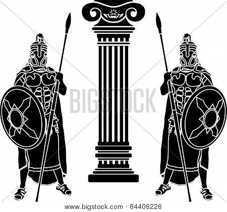 Two Hoplits And Column