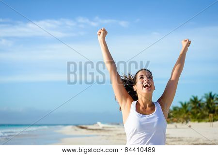 Successful Sporty Woman Running At Tropical Beach