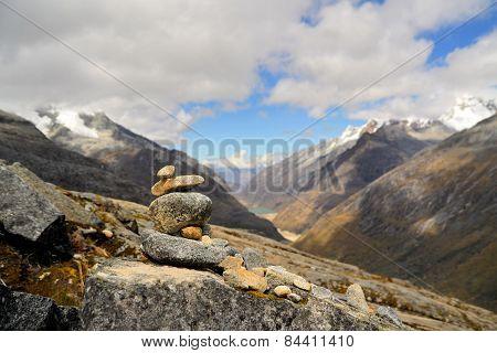 Cordillera Blanca mountain range - Punta Union Pass - Santa Cruz Circuit Trek near Huaraz, Peru poster