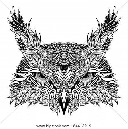 psychedelic owl head tattoo