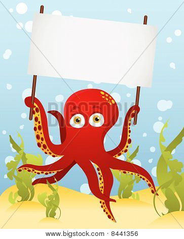Vector. Octopus holding blank sign