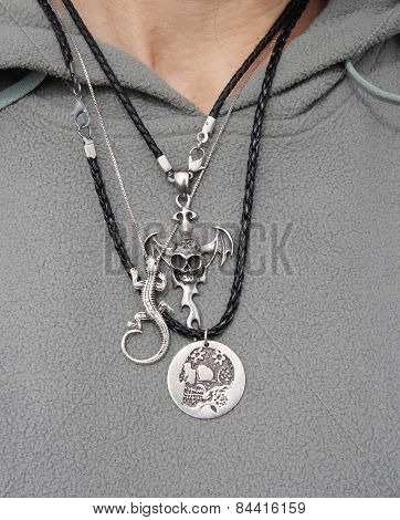 Silver Rock Necklaces On Woman Neck