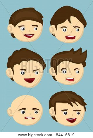Cartoon Heads With Different Facial Expressions And Hairstyle