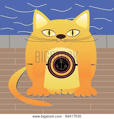 Vector Illustration Of Red Cat Marine On The Waterfront.ai