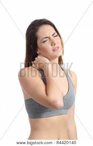 Fitness Woman With Neck Pain Pressing With Her Hand