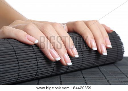Woman Hands With French Manicure Ready For A Treatment