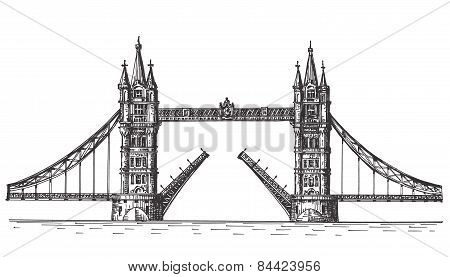 London vector logo design template. England or bascule bridge icon.