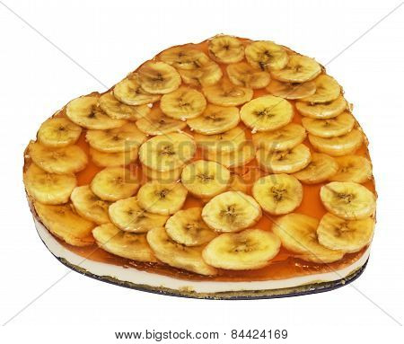 Cheesecake With Bananas Isolated On White