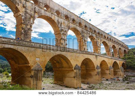 Pont Du Gard, An Old Roman Aqueduct Near Nimes In Southern France