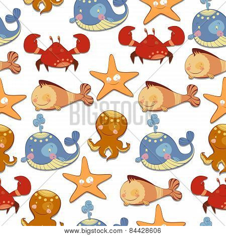 seamless background of marine animals