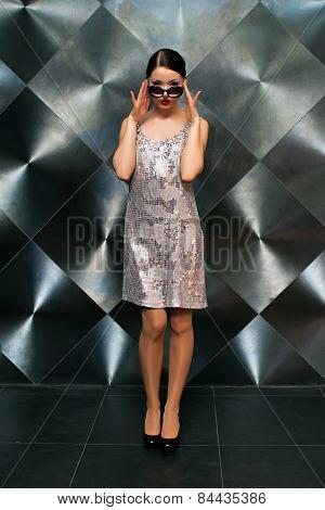 Pretty girl model wearing glasses