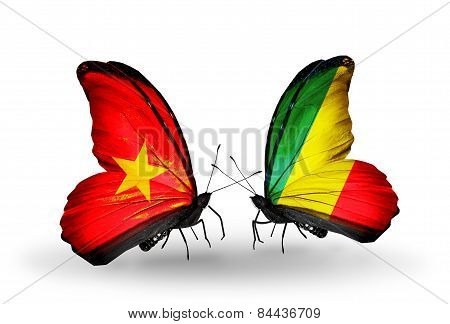 Two Butterflies With Flags On Wings As Symbol Of Relations Vietnam And Kongo