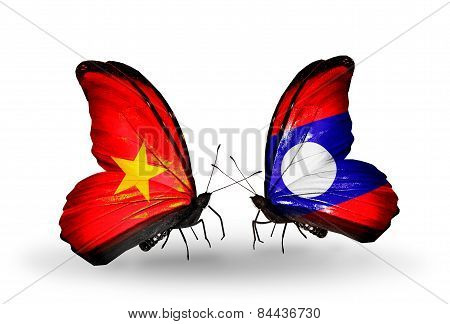 Two Butterflies With Flags On Wings As Symbol Of Relations Vietnam And Laos
