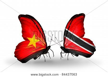 Two butterflies with flags on wings as symbol of relations Vietnam and Trinidad and Tobago poster
